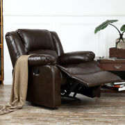 New Reclining Chair Furniture Recliner Living Room Faux Leather, Black / Brown