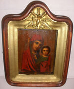 Antique 1800`s 19th Holy Virgin Mary Mother Of Kazan And Baby Jesus Russian Icon