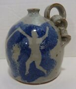 Nude Dancing Nymphs Studio Art Pottery Sm Stoneware Jug Pigtail Handle Signed