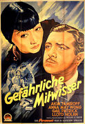 Anna May Wong In Dangerous To Know Rare Movie Poster From 1938