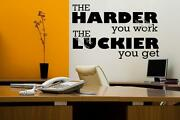 The Harder You Work The Luckier You Get Motivational Wall Sticker Decal Diy Uk