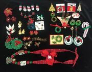 Huge Lot Of Vintage Christmas Jewelry Pin Necklace Brooch Earring Barrette