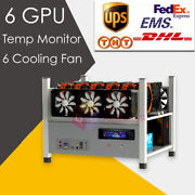 6 Gpu Open Air Mining Case Computer Eth Miner Frame Rig 6x Fan And Temp Monitor