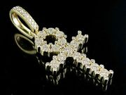 14k Yellow Gold Real Diamond Egyptian Cluster Ankh Cross Pendant 1 1/5 Ct 2.2