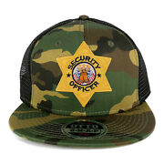 Security Officer Gold Star Badge Embroidered Patch Camo Flat Bill Mesh Cap