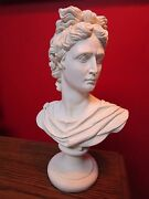 Chalkware Apollo Bust 13 Tall In Round Base