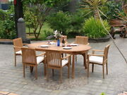 Lua 7 Pc Dining 94 Oval Table Stacking Arm Chair Set Grade-a Teak Outdoor New