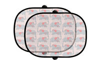 Cute Elephants With Red Ears Auto Foldable Front Rear Side Window Sunshade Mesh