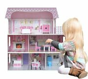Kiddi Style Large Kids Girls Victorian Mansion Wooden Doll House And Furniture New