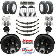 Tandem 7000 Lb Electric Brake Trailer Axle Kit With Wheels And Tires 14k Cap.