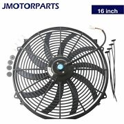 12v 16 Inch Universal Slim Fan Push Pull Electric Radiator Cooling And Mount Kit