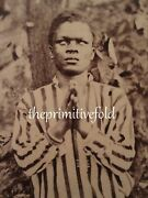 Antique African American Blind Faith Boy Black History Artistic Stereoview Photo