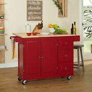 Red Wooden Kitchen Island Utility Cart Rolling Cabinet Storage Drawers Drop Leaf