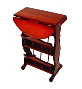 Amish Furniture - Oak Drop Leaf Accent Table With 2 Storage Racks - Made In Usa