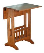 Amish Furniture Mission Style Double Drop Leaf Oak Accent Table With Storage Usa