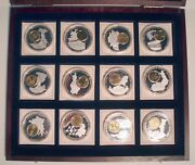 European Currencies 12 Bu Proof Medals With Inlay Coin And Coa In Mahogany Box