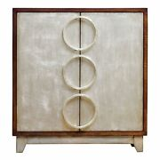 Mid Century Modern Slim Silver Accent Chest   Circles Rings Shelves Retro