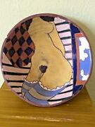 """VTG Judy Miller Art Pottery 7"""" Painted Clay Bowl Etched Nude (Small Chip)"""