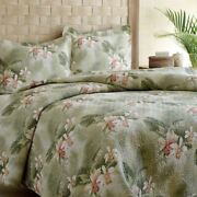 Twin Full Queen King Bed Tropical Green Orchids 3 Pc Cotton Quilt Set Coverlet