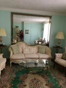 Antique Living Room Set Couchlove Seat Arm Chair 2 Marble And Gold End Tables