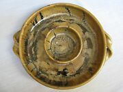 Studio Art Pottery Black Gold Glazed 2 Part Round Chip Dip Dish Twisted Handles