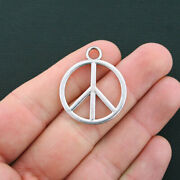 8 Peace Sign Charms Antique Silver Tone 2 Sided Large Charms- Sc4042