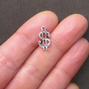 20 Money Sign Charms Antique Silver Tone 2 Sided - Sc1342