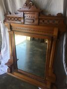 Antique 3/4 Length Bed Frame And Hanging Mirror