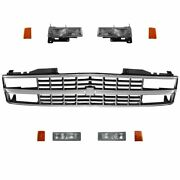 Headlight Parking Light Lamp Chrome Black Grill Kit 9 Piece For Chevy Truck Suv