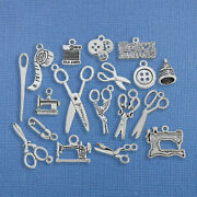 Deluxe Sewing Charm Collection Antique Silver Tone 17 Charms - Col246