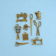Sewing Charm Collection Antique Bronze 10 Different Charms - Col090