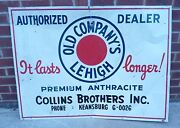 Orig Old Companyand039s Lehigh Coal Premium Anthracite Large Advertising Store Sign