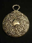 Antique Antique Simpson Hall And Miller Sterling Silver Repousse Hand Mirror