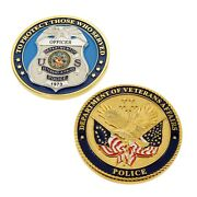 Veterans Affairs Police Officer Badge Challenge Coin Gold Plate 3d Great Quality
