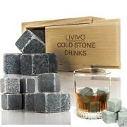 8pc Whisky Ice Stones Drink Cooler Cubes Whiskey Scotch Rocks Granite Domino Box