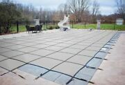 Hpi Rectangle Gray Mesh In-ground Swimming Pool Safety Cover W/ 4' X 8' End Step