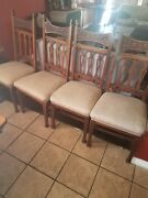 Antique Oak Kitchen Dining Chairs Carved Spindles And Headrest Set Of 4