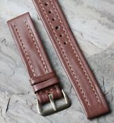 Short Old Stock Contrast Stitch Cowhide 1940s/50s Nos Vintage Watch Band 15.5mm
