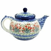 Polish Pottery Hand Crafted 1 Quart (5 cups) Teapot 060-Red Tulips