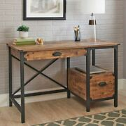 Small Desk Rustic Vanity Antique Writing Center Table Industrial Wood Metal New