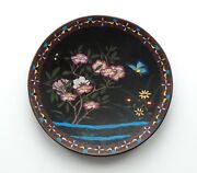 19th C. Chinese Cloisonne Enamel 9.75 Plate / Charger, Butterfly And Flowers