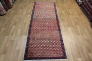 Old Hand Made Persian Traditional Mahal Runner Rug With Boteh Design 9'8 X 3'2 F