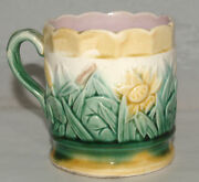 ANTIQUE MAJOLICA ART POTTERY CATTAIL AND FLORAL MUG CUP VICTORIAN ENGLISH
