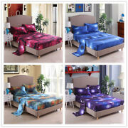 3d Galaxy Deep Pocket Bed Sheets Set Cosmos Night Flat Sheet And Fitted Sheet