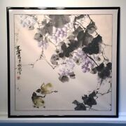 Large Antique Chinese Ink Wash Painting Signed. Grapevine And 2 Chicks Magnificent
