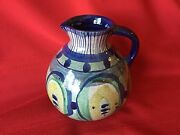 MCM RAS DANISH STUDIO POTTERY Blue Green Pitcher Vase SIGNED Mid Century DENMARK