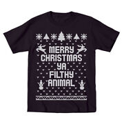 Kids Merry Christmas Ya Filthy Animal Cute Outfit Top Kids Black Toddler T-shirt