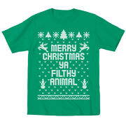 Kids Merry Christmas Ya Filthy Animal Cute Outfit Top Kids Green Toddler T-shirt