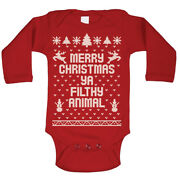 Baby Merry Christmas Ya Filthy Animal Xmas Red Long Sleeve Baby One Piece