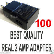 Lot 100 X2a Ac Black Wall Power Charger Adapter For Samsung S5 S4 S3 S2 Note Ii